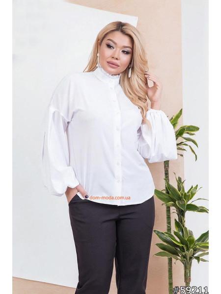 Женская блузка с воротником стойка большого размера