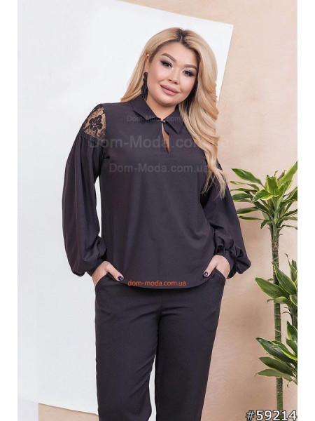 Элегантная блузка с кружевными вставками большого размера