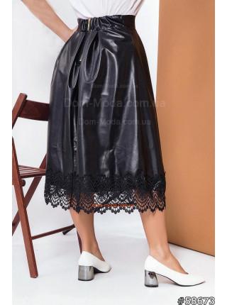 Кожаная юбка миди для полных