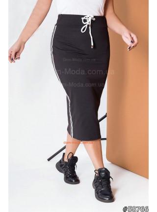 Трикотажная юбка миди для полных