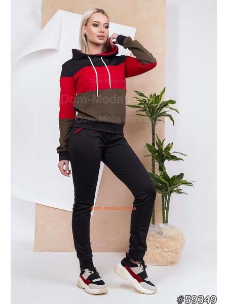 Женский трехцветный спортивный костюм