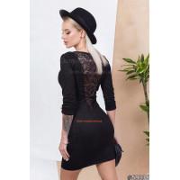 Жіноча замшева сукня з мереживом