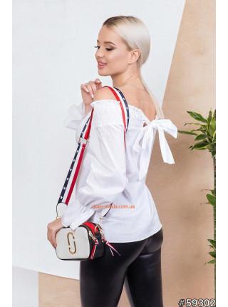 Женская блузка с открытыми плечами и длинными рукавами