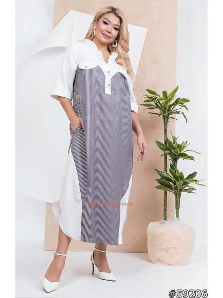 Легкое платье рубашка в пол для полных
