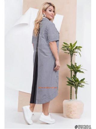 Летнее платье рубашка в клетку для полных