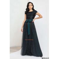 Жіноча вечірня сукня в пол з відкритою спиною і бантиком