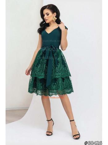 Нарядное женское платье до колена с двойной юбкой