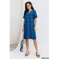 Женское короткое джинсовое платье с небольшим рукавом