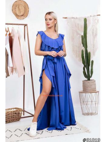 Жіноче стильне плаття в пол з рюшами