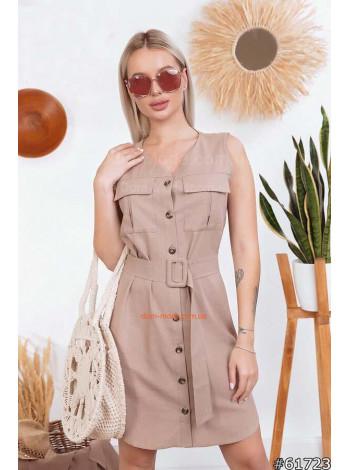 Женское стильное платье без рукав на пуговицах
