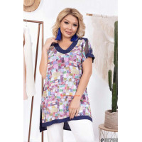 """Летняя женская блуза с коротким рукавом большого размера """"Принт"""""""