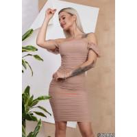 Стильное короткое мини платье с открытыми плечами