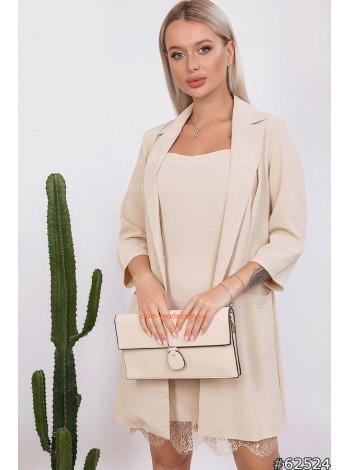 Стильный комплект платье с удлиненным пиджаком
