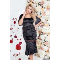 Женское вечернее миди платье из черного бархата