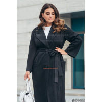 Женское модное пальто тренч с поясом большого размера