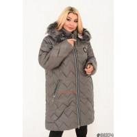 Зимняя женская удлиненная куртка с мехом большого размера