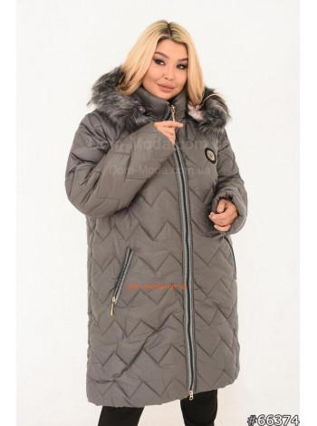 Зимова жіноча подовжена куртка з хутром великого розміру