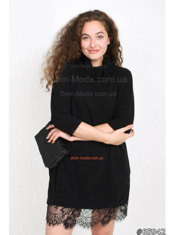 """Тепле плаття з довгим рукавом і чорним мереживом """"Ангора"""""""