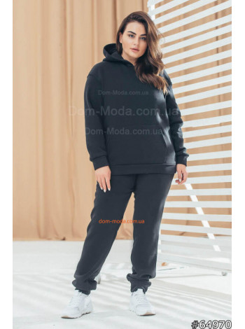 Модный женский спортивный костюм с капюшоном большого размера