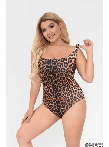 Слитный купальник с леопардовым принтом
