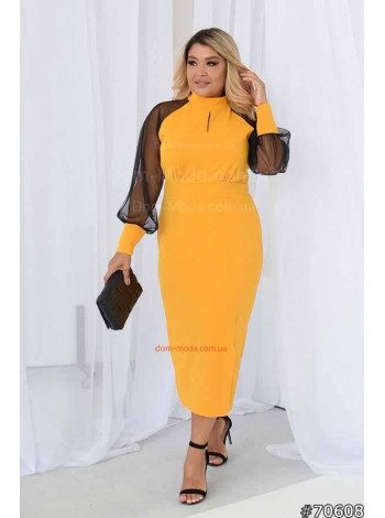 Элегантное платье с рукавом сетка большого размера