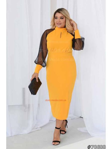Елегантна сукня з рукавом сітка великого розміру