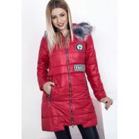 Стильная удлиненная куртка на синтепоне с мехом