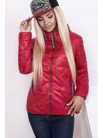 Женская коротка куртка с карманами и высоким воротником