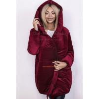 Женская модная удлиненная куртка из бархата