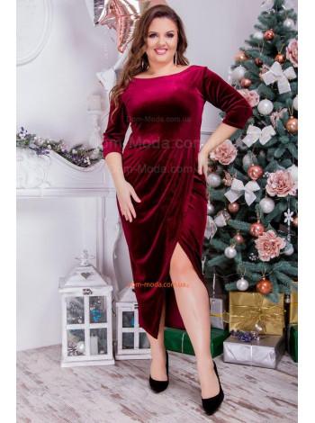 Бархатное платье с вырезом большого размера