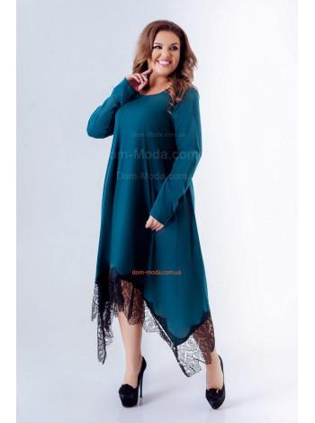 Стильное платье для полных с кружевом
