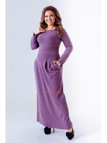 Длинное женское платье для полных из трикотажа ангора