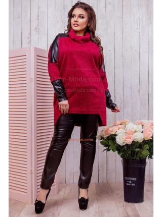 Жіноча тепла туніка зі вставками із шкіри для повних