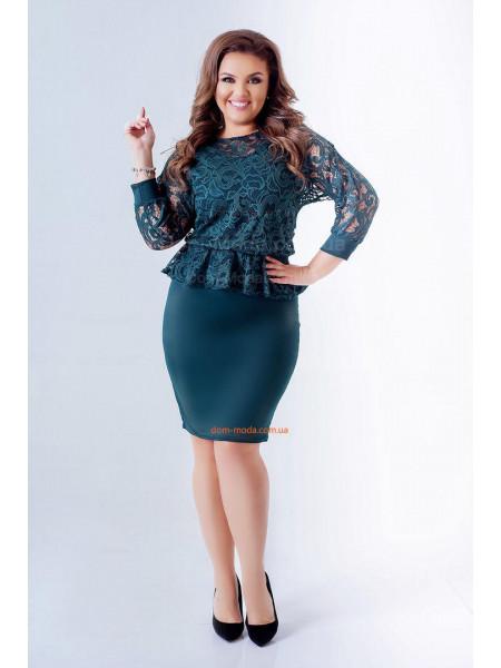 Плаття коротке із рукавом великого розміру з баскою