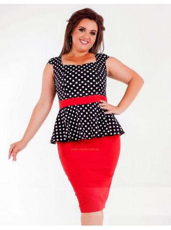 Літнє жіноче плаття з баскою великого розміру