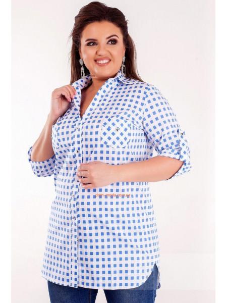 Удлиненная клетчатая рубашка большого размера