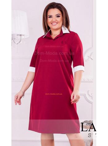 Коротке плаття із білим комірцем і манжетами великого розміру