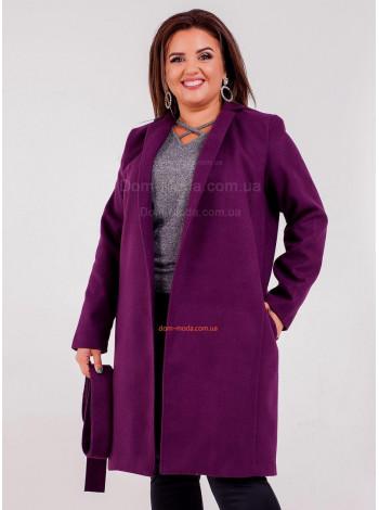 Женское модное пальто на подкладке с поясом для полных