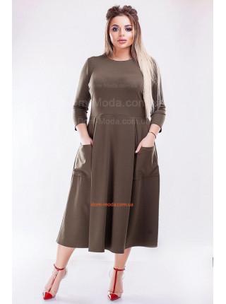 Стильное платье миди с карманами большого размера
