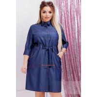 Женское короткое джинсовое платье рубашка большого размера