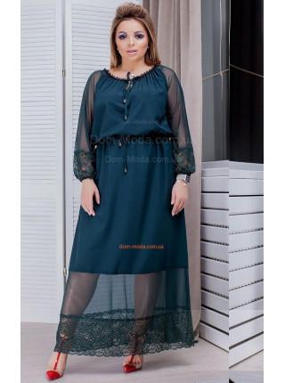 Вечернее длинное женское платье со вставками сетки для полных