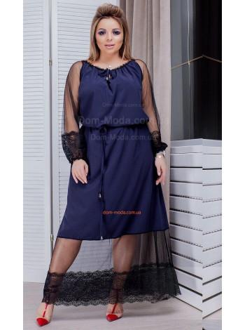 Вечірнє довге жіноче плаття зі вставками сітки для повних