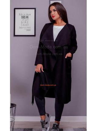 Жіноче подовжене пальто на запах для повних