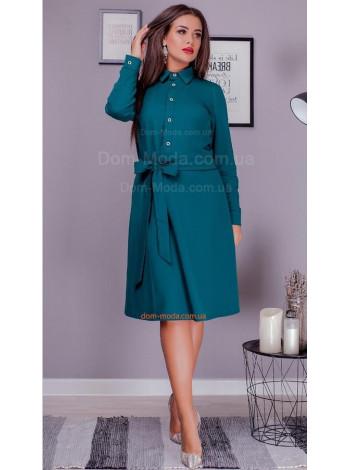Красивое женское платье рубашка с поясом для полных