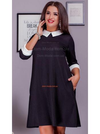 Стильное короткое платье с воротником для полных