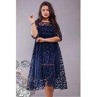 Женское гипюровое вечернее платье свободного кроя для полных