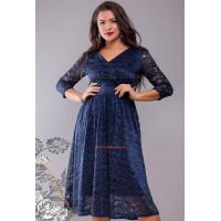 Жіноча гіпюрова вечірня сукня вільного крою для повних