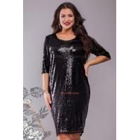 Стильное короткое вечернее платье в пайетку большого размера