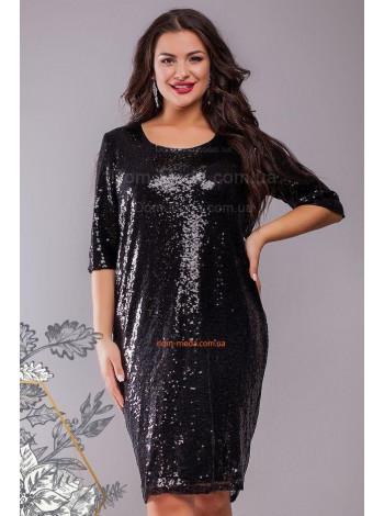 Стильна коротка вечірня сукня в пайетку великого розміру