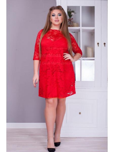 Вечірнє коротке гипюровое плаття великого розміру